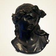 Victorian gutta percha cameo 800 silver mounted