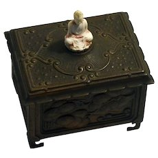 1920/30s Youbenel tin copper box with celluloid Buddha