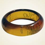 Wide chunky genuine bakelite (tested) bangle bracelet cubist design back carved