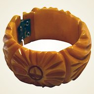 Wide chunky yellow genuine bakelite (tested) hand carved bracelet