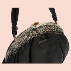Big New look 1950s metallic jeweled ornate purse frame genuine leather bag