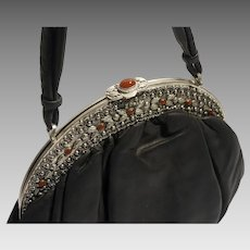 Big New look 1950s metallic jeweled ornate purse frame genuine leather bag