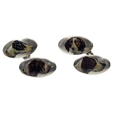 Enameled 900 silver cufflinks with hunting dogs