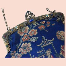 Jewelled purse frame with chinoiserie brocade