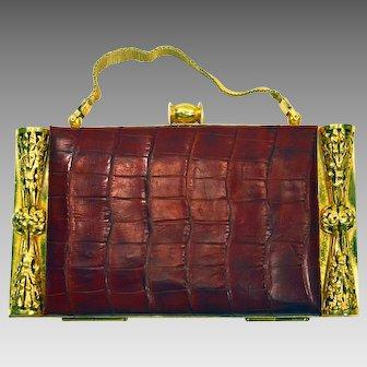 1930'S Art deco red crocodile golden metal vanity case
