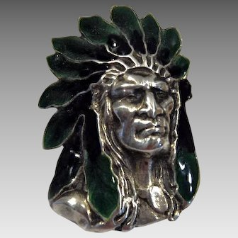Indian chief 900 silver enameled Victorian pin brooch