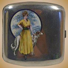 Art deco 800 silver & enamel cigarette case