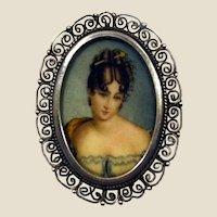 Hand painted oil miniature portrait brooch-pendant 800 silver.