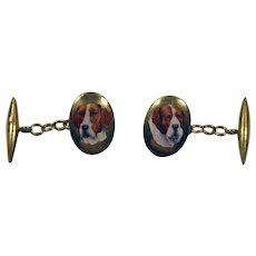 Barnet Henry Joseph 18ct gold enameled cufflinks