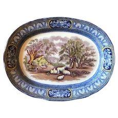 Booths Silicon China Blue White Farm Transferware Plate c 1925