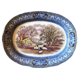 Booths Silicon China Blue White Farm Transferware Plate c 1925
