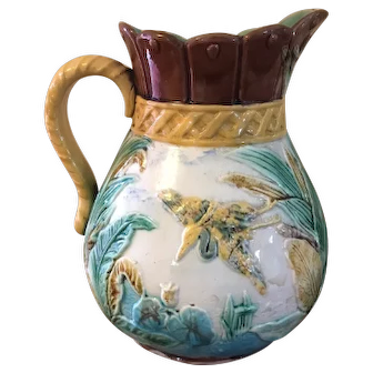 "19th c Majolica Pitcher 8 1/2"" Heron Flying Water Foliage"