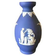 Wedgwood Cobalt Blue Jasperware Sacrifice to Peace Vase c 1920