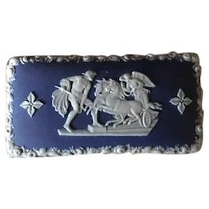 Antique Wedgwood Jasperware Cobalt Blue Matchbox Striker Circa Pre 1860