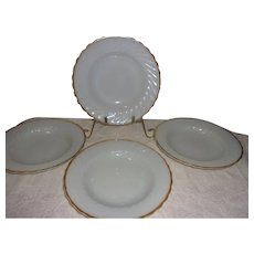 Anchor Hocking Milk Glass W/22K Gold Trim Suburbis Swirl Soup/Salad Bowls, Set of 4
