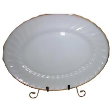 Anchor Hocking Milk Glass W/22K Gold Trim Suburbia Swirl Platter