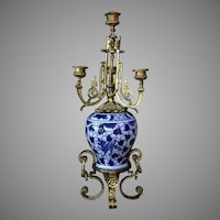 Antique Chinese Qing Dynasty Blue And White Vase In Ormolu Candelabrum Mounting
