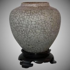 Antique Chinese Yuan Dynasty Crackle – Glaze Ge Type Ceramic Jar