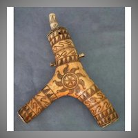 Antique 17th -18th Century Hungarian Gun Powder Flask Horn Transylvanian