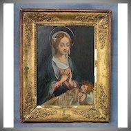 Antique 17th century Painting Virgin Adoring the Sleeping Christ Child
