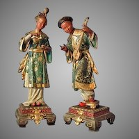 Pair of Antique European 19th century Spelter Sculptures of Chinese Couple