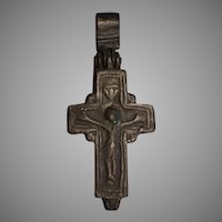 Antique 8th-10th century AD Byzantine Bronze Cross Encolpion