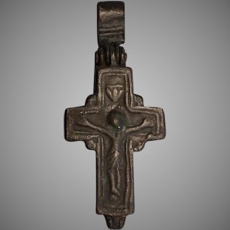 Antique 8th-10th century AD Byzantine Bronze Cross Encolpion