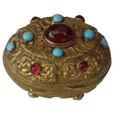 Antique 18th -19th c Turkish Ottoman Jeweled Tombak Gilt Copper Alloy Snuff Box
