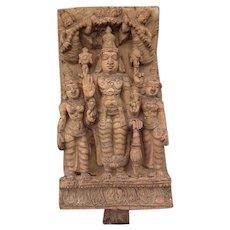Antique Indian Hindu Wood Sculpture Vishnu Shridevi & Bhudevi 18th Century India