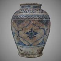 Antique Medieval 15th Century Islamic Mamluk Blue And White Ceramic Jar