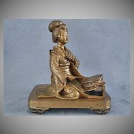 Antique Japanese Bronze Geisha Sculpture Meiji Period 19th c