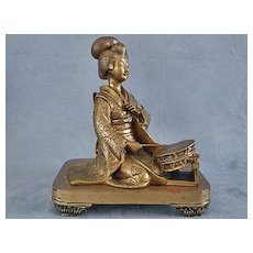 Antique Japanese Bronze Geisha Sculpture Meiji Period 19th c