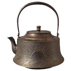 Large Antique Japanese 19th century Meiji Period Cast Iron Teapot Kettle Tetsubin