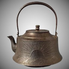 Large Antique Japanese 19th century Meiji Period Cast Iron Teapot Kettle Tetsubin