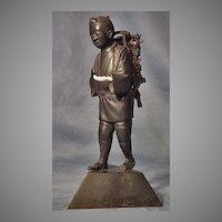 Antique Japanise Bronze Sculpture Figure Kinjiro Ninomiya Sontoku