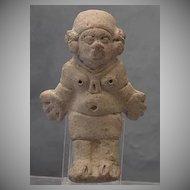 Antique Pre-Columbian Jama - Coaque Ceramic Female Figure 300 BC- 400 AD