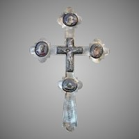 Antique 19th century Russian Rostov Enameled Blessing Reliquary Cross
