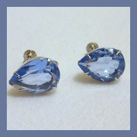 Blue Glass Tear Drop Screw Type Earrings