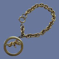 1950's Large Chain Bracelet with Cupid Charm
