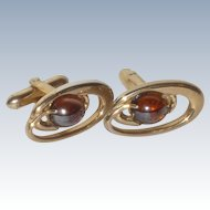 Oval Amber Glass Cabochon Gold Tone Cut Out Cuff Links