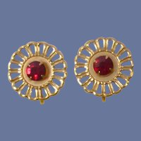 Red Rhinestone Gold Tone Setting Small Screw On Earring Set