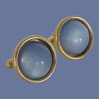 Gold Tone Blue Faux Stone Cufflinks Cuff Links