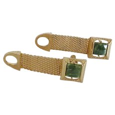 Green Jade Gold Tone Wrap Around Cuff Links Cufflinks