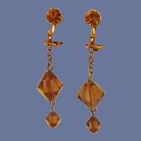 Amber Glass Dangle Clip On Gold Tone Earrings
