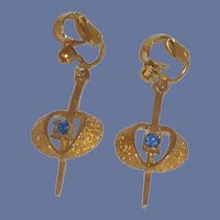 Blue Rhinestone Gold Tone Clip On Dangle Earrings
