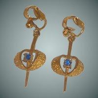 Blue Rhinestone Gold Tone Clip On Dangle Earrings
