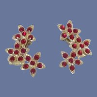 Red Rhinestone Cluster Flower Clip On Earrings