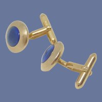 Swank Gold Tone Blue Cufflinks Cuff Links 1950's