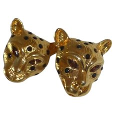 Gold Tone Cheetah Clip On Earrings with Rhinestones