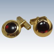 1950's Round Gold Tone Red Domed Cufflinks Cuff Links Swank